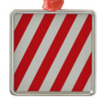Red and Gray Candy Cane Diagonal Stripes Pattern Christmas Ornaments