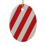Red and Gray Candy Cane Diagonal Stripes Pattern Ornament