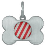 Red and Gray Candy Cane Diagonal Stripes Pattern Pet ID Tag