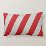 Red and Gray Candy Cane Diagonal Stripes Pattern Pillow