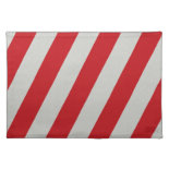 Red and Gray Candy Cane Diagonal Stripes Pattern Placemat