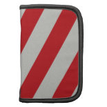 Red and Gray Candy Cane Diagonal Stripes Pattern Folio Planners