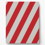 Red and Gray Candy Cane Diagonal Stripes Pattern Display Plaque