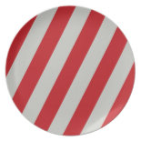 Red and Gray Candy Cane Diagonal Stripes Pattern Dinner Plate