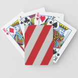 Red and Gray Candy Cane Diagonal Stripes Pattern Playing Cards