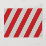 Red and Gray Candy Cane Diagonal Stripes Pattern Post Card