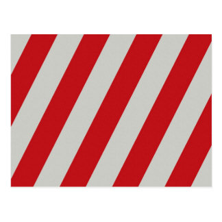 Red and Gray Candy Cane Diagonal Stripes Pattern Postcard