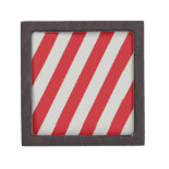Red and Gray Candy Cane Diagonal Stripes Pattern Premium Trinket Box
