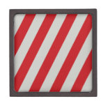 Red and Gray Candy Cane Diagonal Stripes Pattern Premium Gift Box