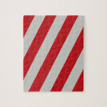 Red and Gray Candy Cane Diagonal Stripes Pattern Jigsaw Puzzle