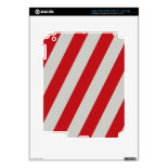 Red and Gray Candy Cane Diagonal Stripes Pattern iPad 3 Decal