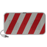 Red and Gray Candy Cane Diagonal Stripes Pattern Portable Speakers