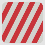 Red and Gray Candy Cane Diagonal Stripes Pattern Square Sticker
