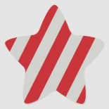 Red and Gray Candy Cane Diagonal Stripes Pattern Sticker
