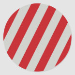 Red and Gray Candy Cane Diagonal Stripes Pattern Round Sticker
