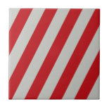 Red and Gray Candy Cane Diagonal Stripes Pattern Ceramic Tile