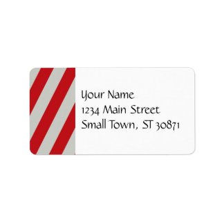 Red and Gray Candy Cane Stripes Pattern Gifts Label