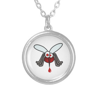 Red and Gray Cartoon Mosquito with Drop of Blood Personalized Necklace
