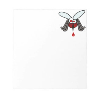 Red and Gray Cartoon Mosquito with Drop of Blood Notepad