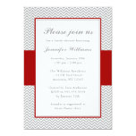 Red and Gray Chevron Bridal Shower 5x7 Paper Invitation Card