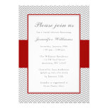 Red and Gray Chevron Bridal Shower Personalized Announcements