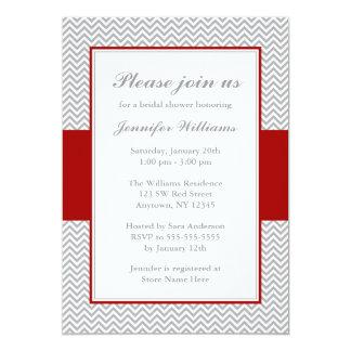 "Red and Gray Chevron Bridal Shower 5"" X 7"" Invitation Card"