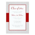 Red and Gray Chevron Graduation Party 5x7 Paper Invitation Card