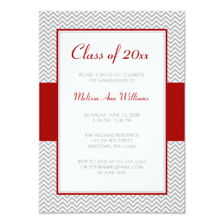 Red and Gray Chevron Graduation Party Card