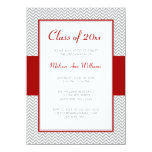 Red and Gray Chevron Graduation Party 4.5x6.25 Paper Invitation Card