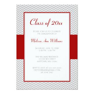 "Red and Gray Chevron Graduation Party 4.5"" X 6.25"" Invitation Card"