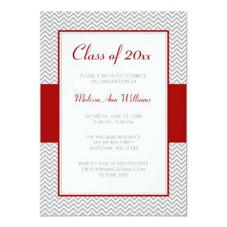 "Red and Gray Chevron Graduation Party 5"" X 7"" Invitation Card"