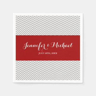 Red and Gray Chevron Personalized Paper Napkin