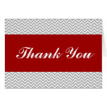 Red and Gray Chevron Thank You Stationery Note Card