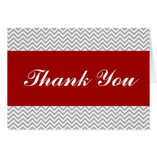 Red and Gray Chevron Thank You Card
