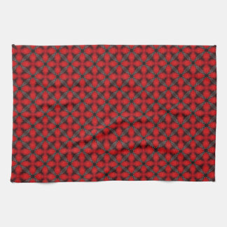 Red and Gray Cross Trellis Kitchen Towels
