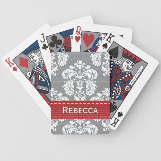 Red and Gray Damask Bicycle® Playing Cards