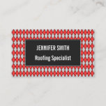 [ Thumbnail: Red and Gray Diamond Shape Pattern Business Card ]
