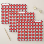 [ Thumbnail: Red and Gray Diamond Shape Pattern File Folders ]