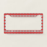 [ Thumbnail: Red and Gray Diamond Shape Pattern License Plate Frame ]
