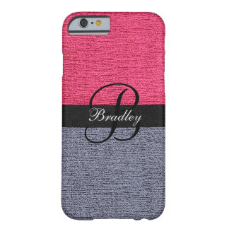 Red and Gray Elegant Monogram Barely There iPhone 6 Case