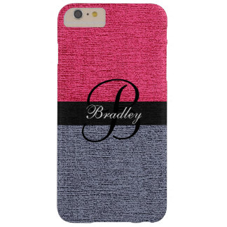 Red and Gray Elegant Monogram Barely There iPhone 6 Plus Case
