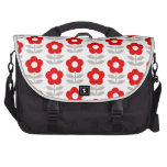 Red and Gray Flower Pattern Laptop Bags