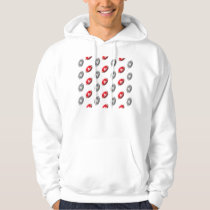 Red and Gray Football Pattern Hoodie