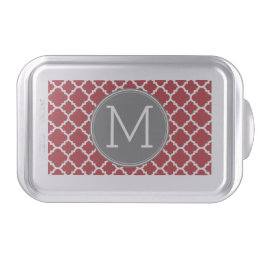 Red and Gray Geometric Pattern Monogram Cake Pan