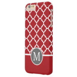 Red and Gray Geometric Pattern Monogram Barely There iPhone 6 Plus Case