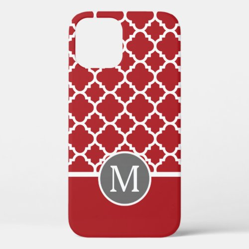 Red and Gray Geometric Pattern Monogram Phone Case