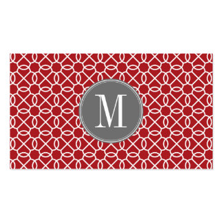 Red and Gray Geometric Pattern Monogram Double-Sided Standard Business Cards (Pack Of 100)