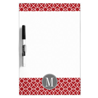 Red and Gray Geometric Pattern Monogram Dry Erase Board