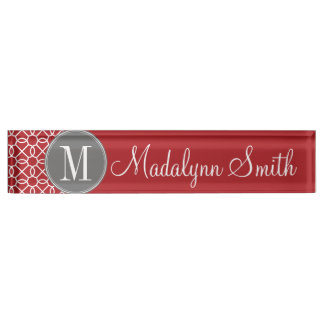 Red and Gray Geometric Pattern Monogram Name Plate