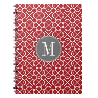 Red and Gray Geometric Pattern Monogram Note Books